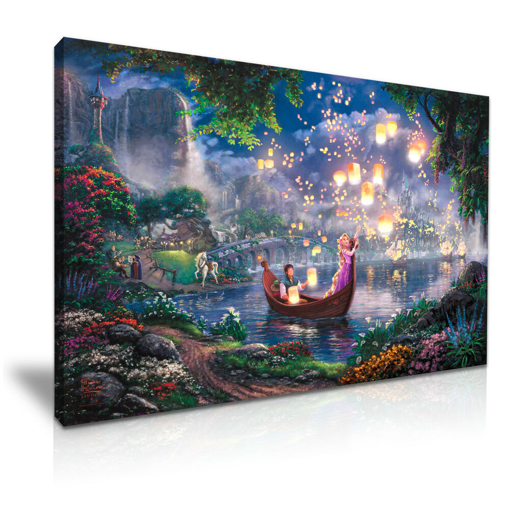 Disney tangled kids canvas wall art picture print 76x50cm special offer ebay for Canvas prints childrens bedrooms
