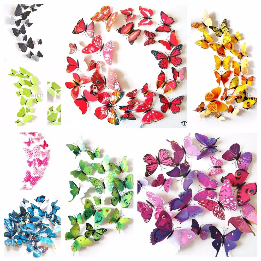 12 pcs 3d butterfly art decal home decor pvc butterflies for Butterfly wall mural stickers
