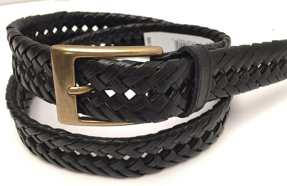 Dockers Men S Braided Leather Belt Black W Gold Tone