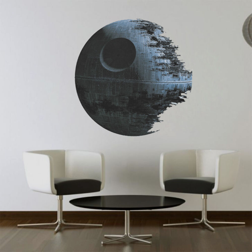 Death Star Artwork Star Wars Home Decor Wall Sticker Wallpaper Wall Decals Mural Ebay