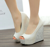 Gorgeous  Wedge Platform Peep Toes Wedding Dress Shoes