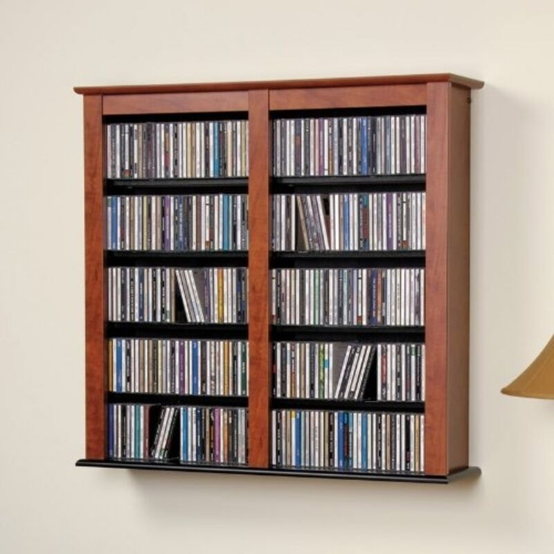 Cherry and black multimedia double floating wall storage In wall dvd storage