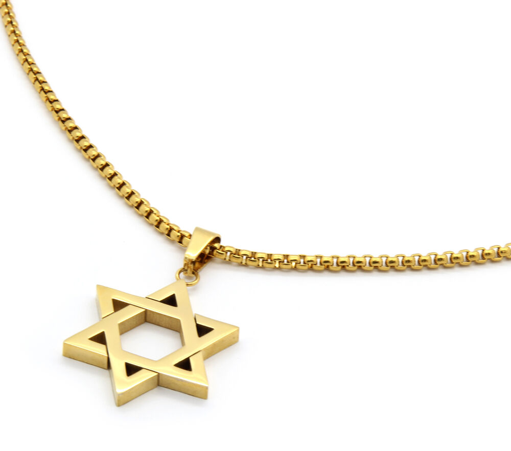 Stainless steel gold plated star of david pendant 24 for Star of david necklace mens jewelry