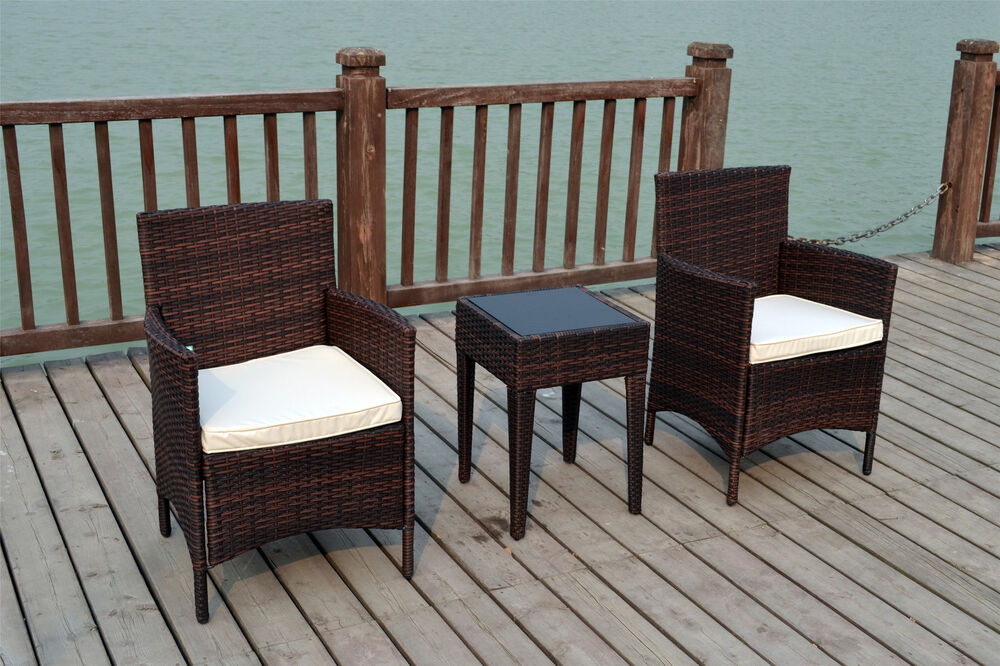 bistro 2 seater chairs rattan wicker conservatory outdoor garden furniture set ebay