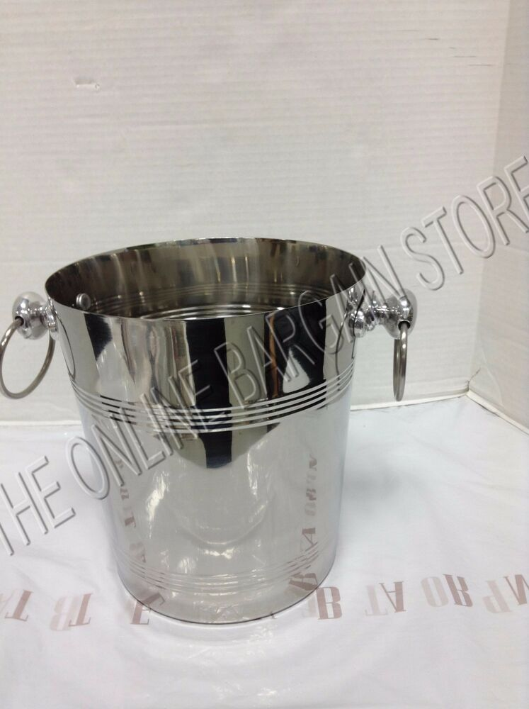 pottery barn silver wine champagne bottle cooler ice bucket kitchen dining party ebay. Black Bedroom Furniture Sets. Home Design Ideas