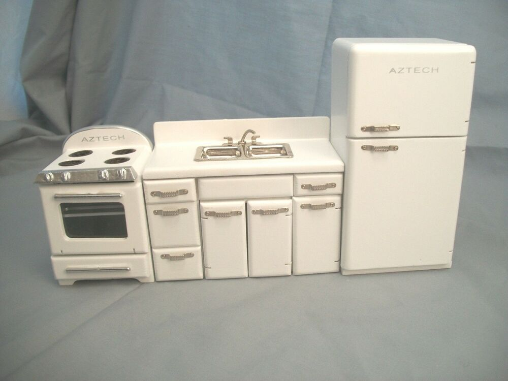 1950s kitchen set white t5017 dollhouse miniature 3pc 1 12