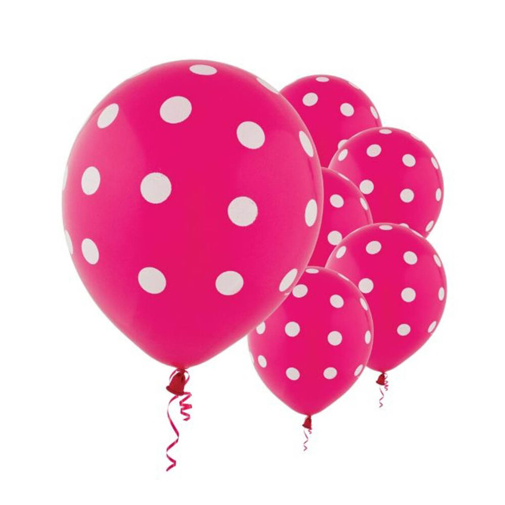 6 bright pink white polka dot spotty birthday party 12 for Red and white polka dot decorations