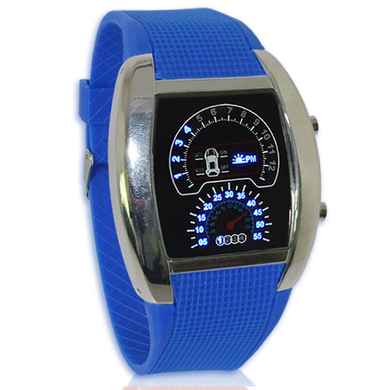 SH US Mens Watches Blue LED Sport Watches Dashboard Racing ...