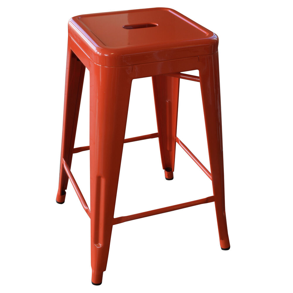 Amerihome Bs24orng 24 Inch Orange Metal Bar Stool 2