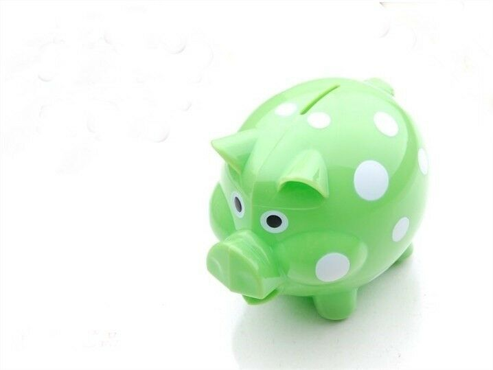 Polka Dots Hard Plastic Coin Pig Piggy Money Bank Green With Stopper Ebay