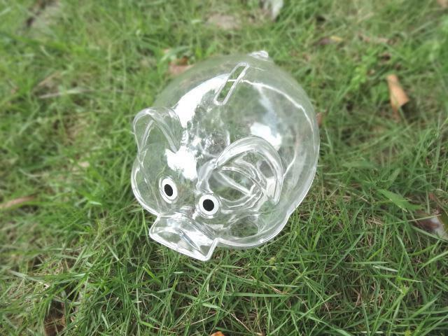 Transparent Plastic Coin Pig Piggy Money Bank With Stopper Ebay
