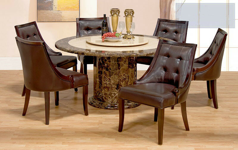 Faux Leather Espresso Chairs Round Marble Table Top W Lazy