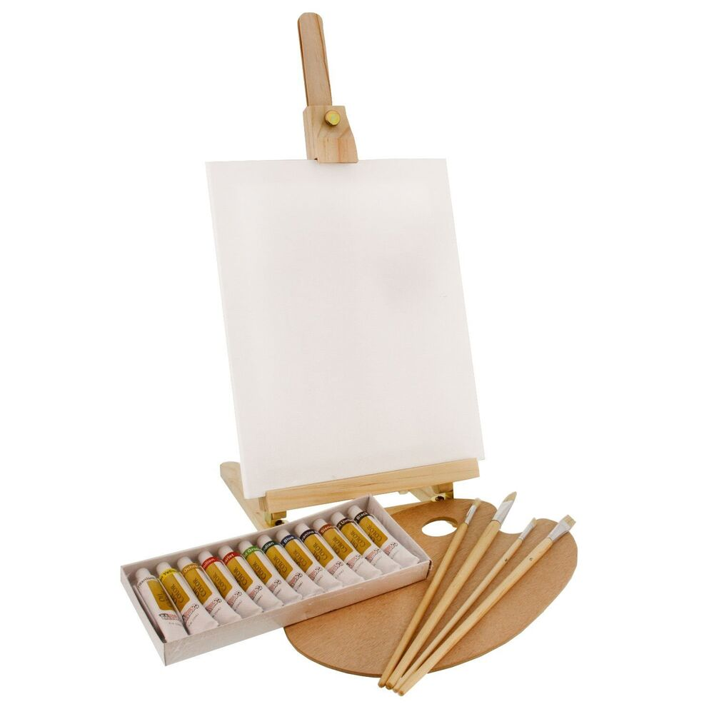 us art supply 19pc oil painting set with table easel
