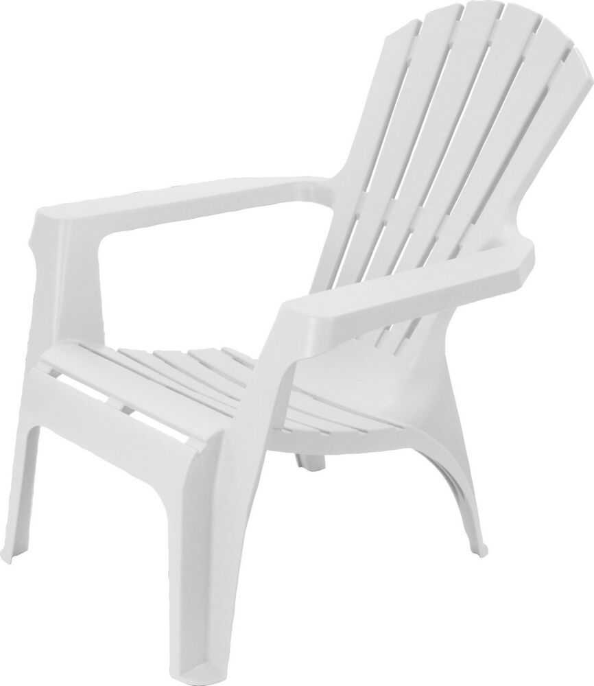 Adirondack style plastic garden patio chair lounger with for Chaise de jardin blanche