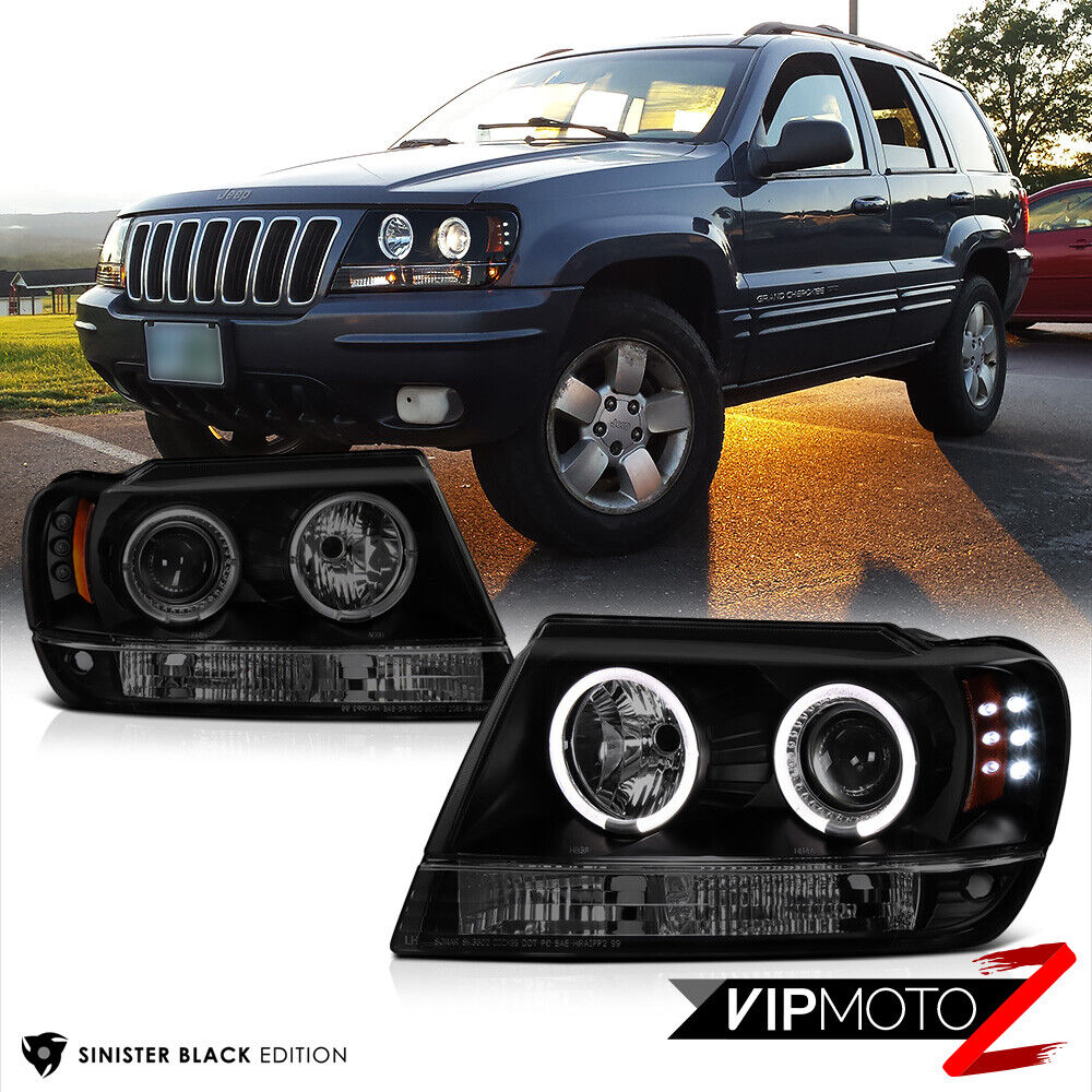 Limited Sinister Black 1999 2004 Jeep Grand Cherokee Wj Wg Halo Led Headlights Ebay