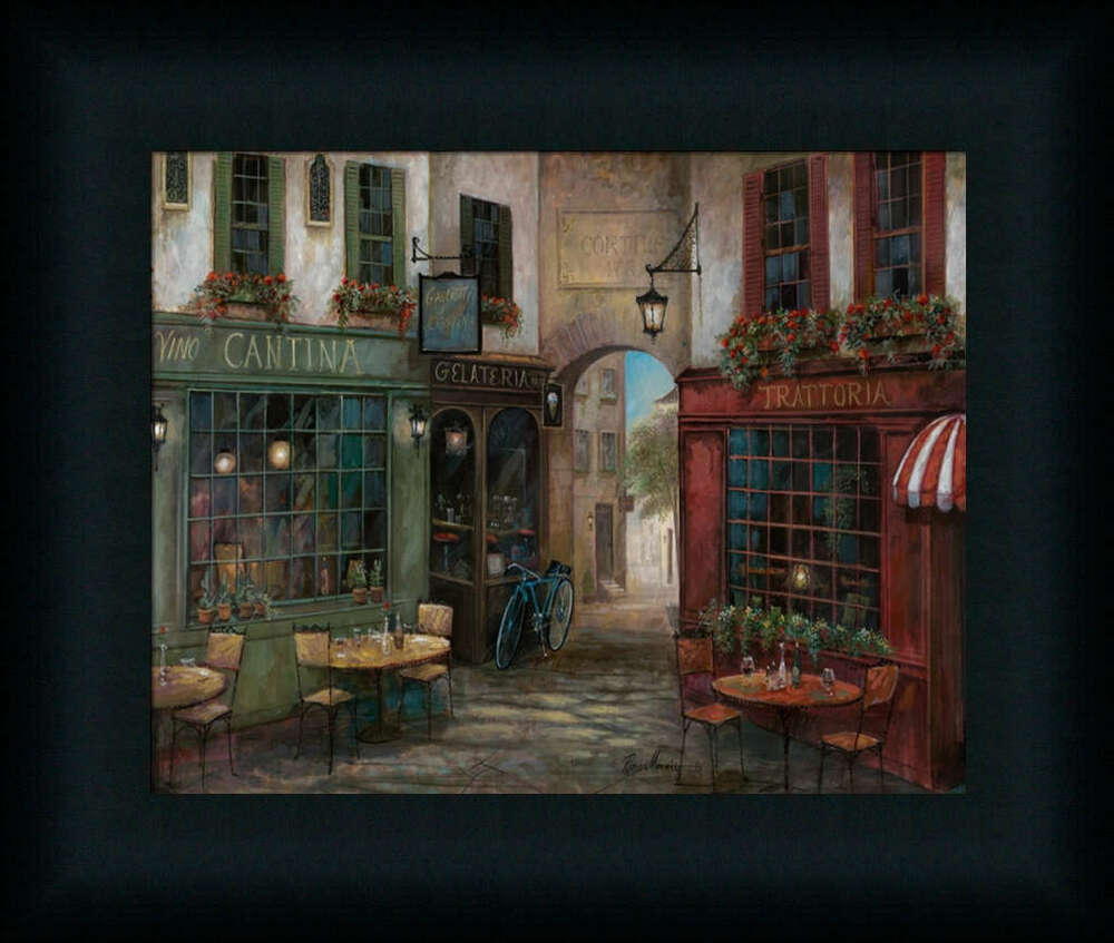 Courtyard ambiance by ruane tuscan villa framed art print for Wall decor paintings
