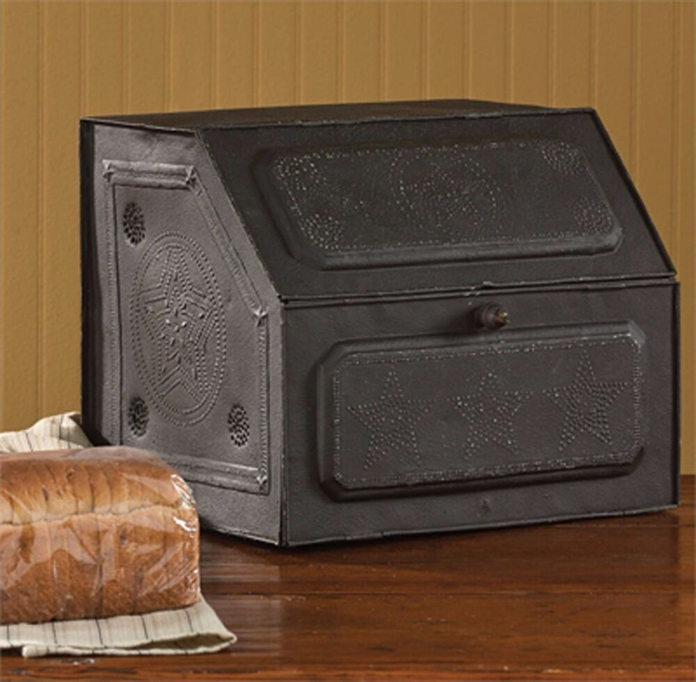 park designs antique replica vintage style black star metal bread box ebay. Black Bedroom Furniture Sets. Home Design Ideas
