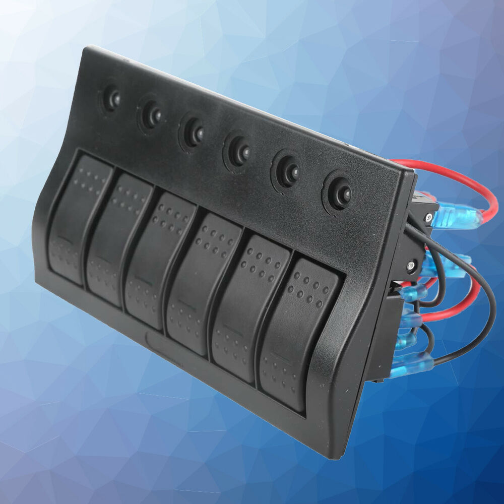 6 Gang Rocker Switch Panel Car Marine Boat Circuit R U0026g Led