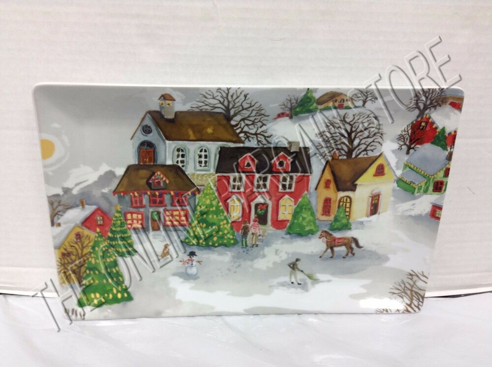 pottery barn christmas holiday winter village platter serving cookie plate tray ebay. Black Bedroom Furniture Sets. Home Design Ideas