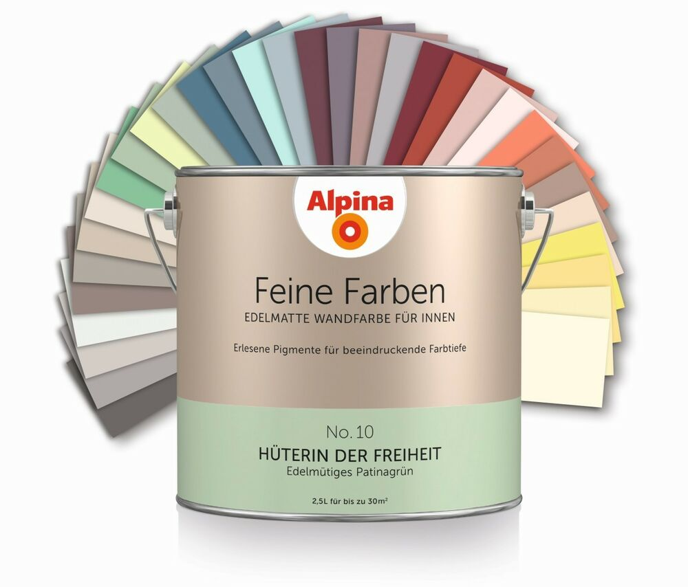 alpina feine farben bunte farbe wandfarbe innenfarbe farbkraft deckkraft matt ebay. Black Bedroom Furniture Sets. Home Design Ideas