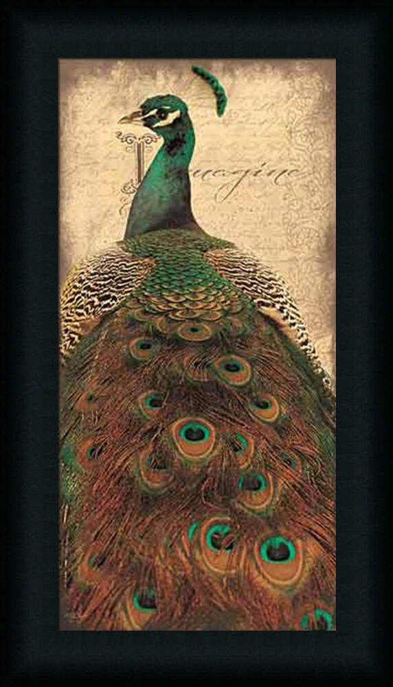 Imagine emerald green peacock feathers framed art print for Peacock wall art
