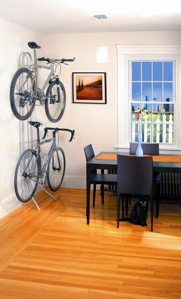 Two bike gravity stand bicycle storage rack wall mount for Apartment garage storage