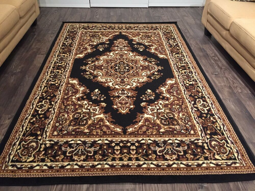 Beautiful traditional persian style area rugs 8x11 black for Carpets and area rugs