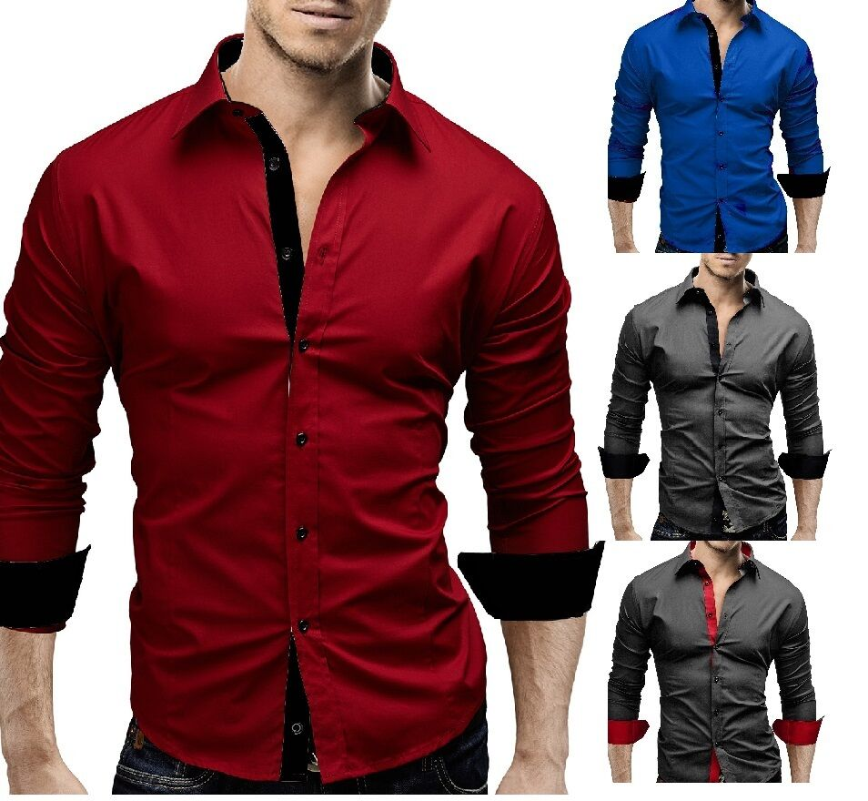 New mens casual formal shirts slim fit shirt top long for Slim fit mens shirts casual