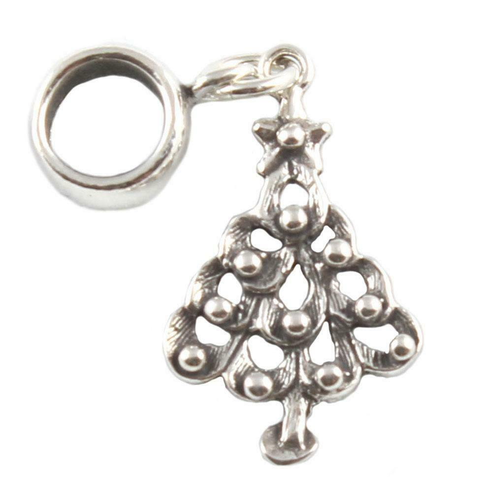 Christmas tree 925 sterling silver dangle charms carrier for Sterling silver christmas jewelry