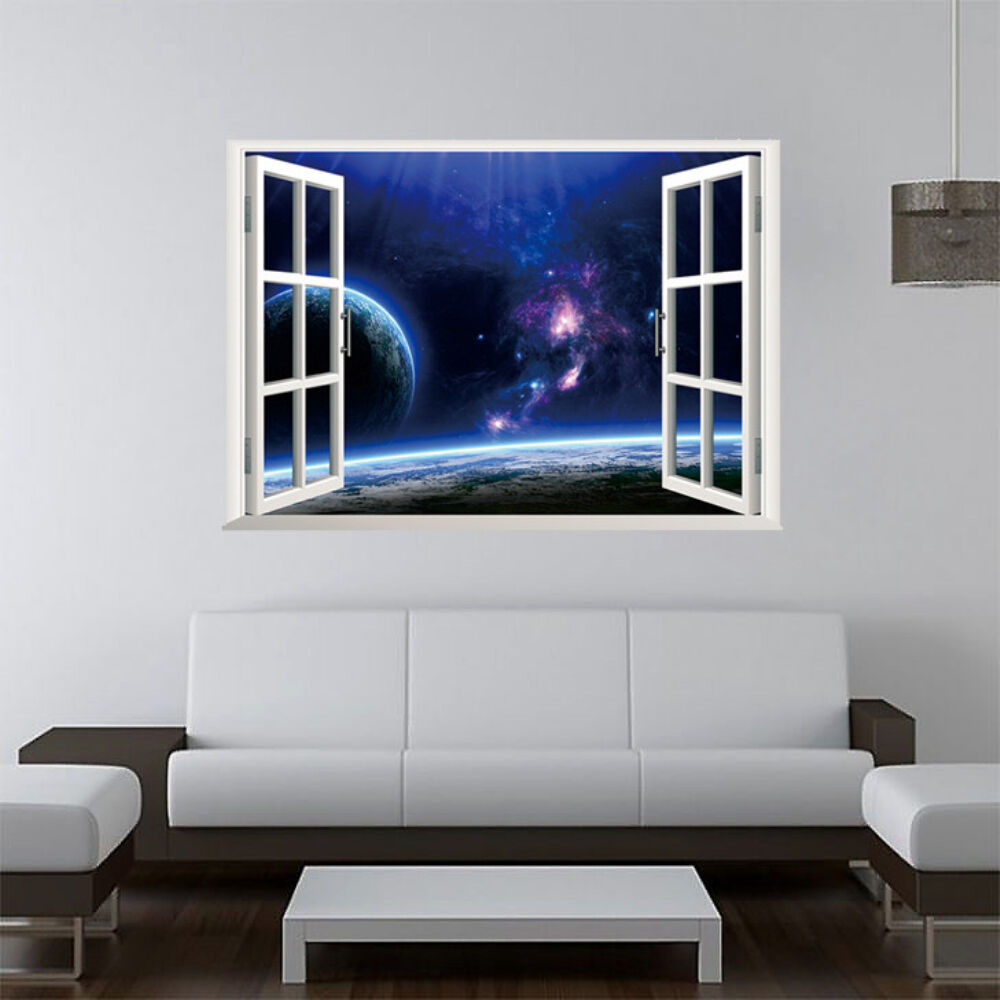 Home Decor Mural Art Wall Paper Stickers ~ D window star view art home decor wall sticker wallpaper