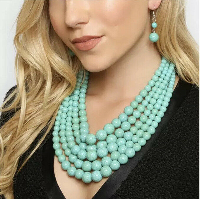 turquoise blue multi layered strand bead chunky necklace