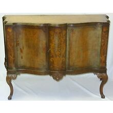 REGENCY GLAM 1930's AMBOYNA BURL & INLAID SIDEBOARD WITH CARVED ORNAMENT & LEGS