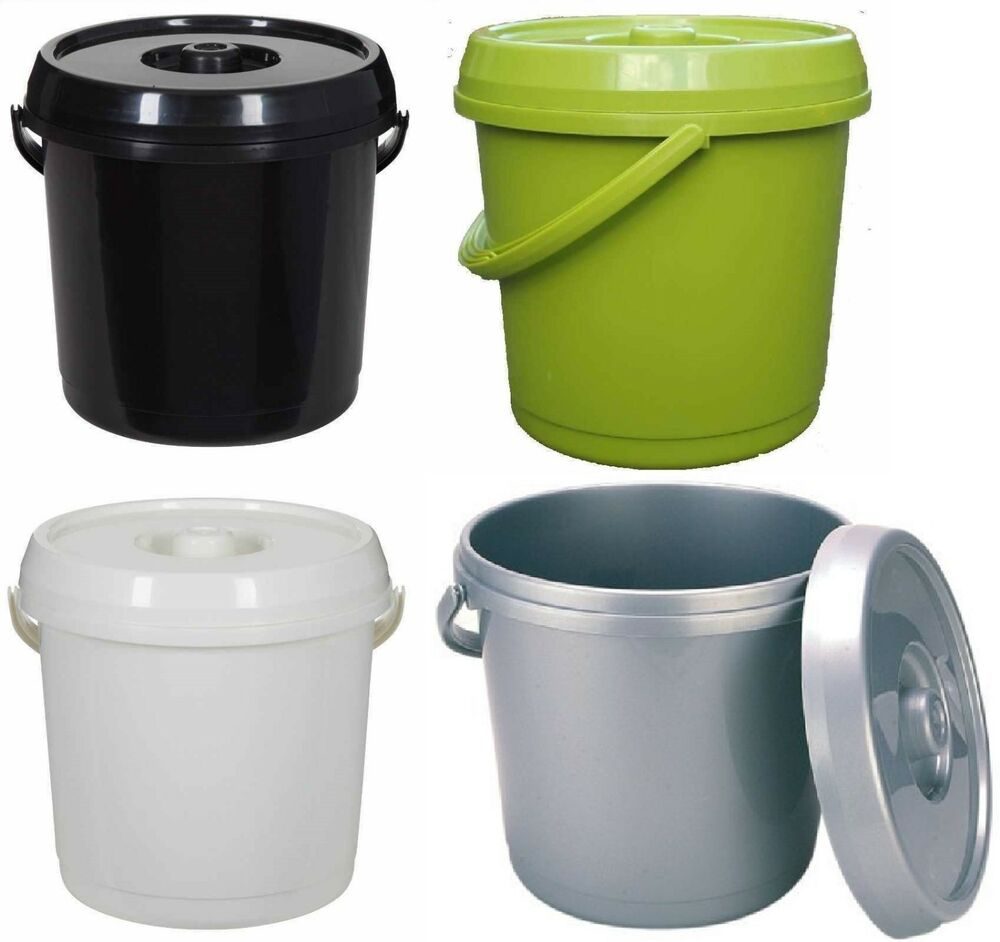 14l plastic nappy bucket with lid and handle 3 gallon baby bin storage container ebay. Black Bedroom Furniture Sets. Home Design Ideas