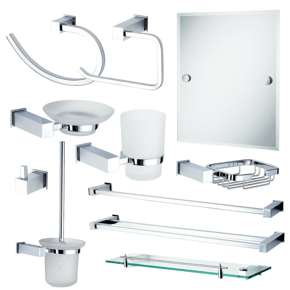 Wall Mounted Bathroom Accessories Chrome & Glass Rust Proof ...