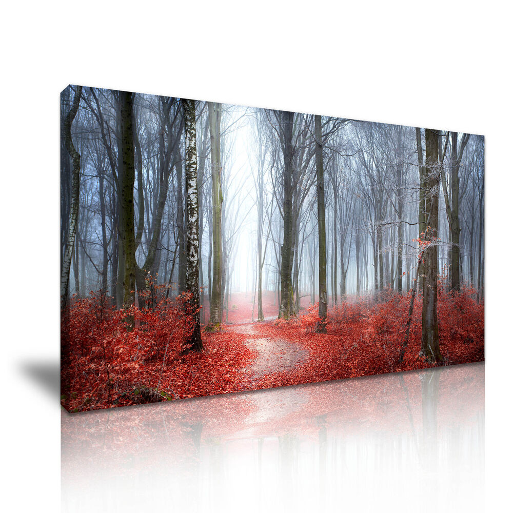 Red leaves autumn forest landscape canvas wall art picture for Red wall art