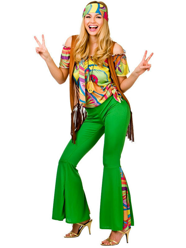adult 60s 70s groovy hippie hippy flower power womens ladies fancy dress costume ebay. Black Bedroom Furniture Sets. Home Design Ideas