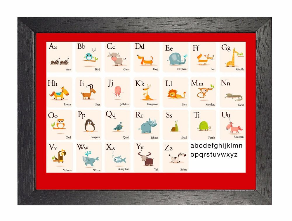 education alphabet animals kids learning english poster teaching science photo ebay. Black Bedroom Furniture Sets. Home Design Ideas