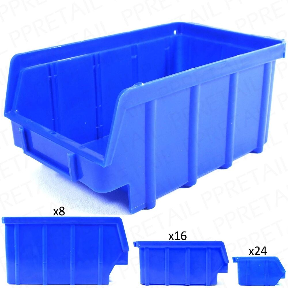 Small Large Stackable Plastic Parts Bins Deep Strong