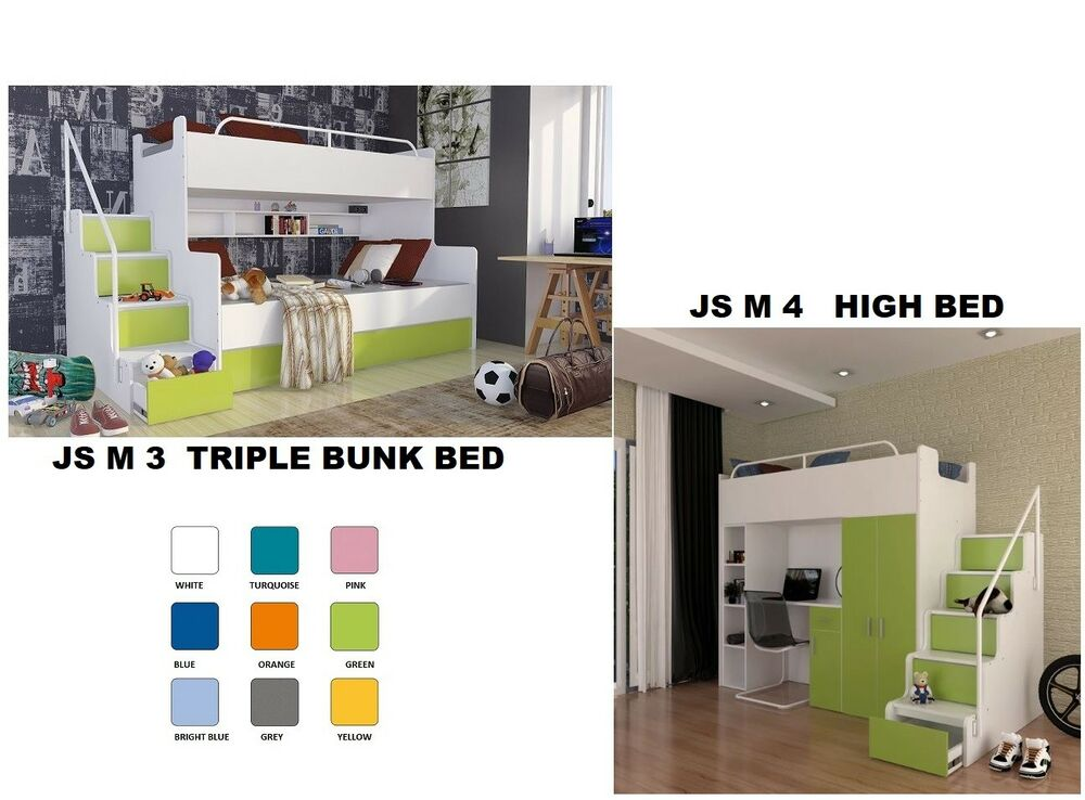 Sofa bed with storage underneath - Triple Bunk Bed With Mattresses Storage Children S Bedroom Furniture