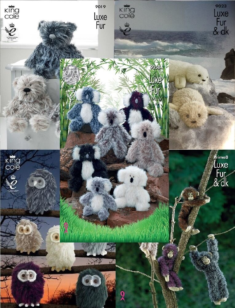 King Cole Luxe Fur Knitting Pattern 9019 Three Teddy Bears : King Cole Luxe Fur Patterns Koalas, Monkeys,Teddy Bears, Seal Pups, Baby Owls...