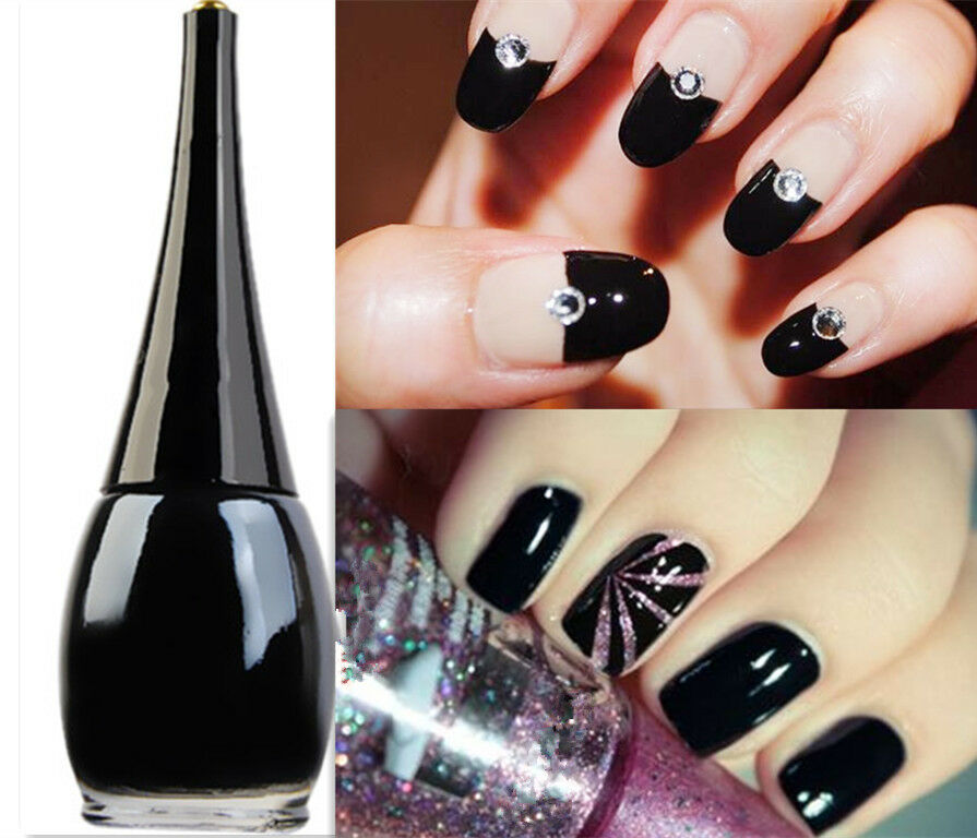 Black Nail Polish Ebay: 1Bottle 16ml Black Color Nail Polish Nail Art Enamel Paint