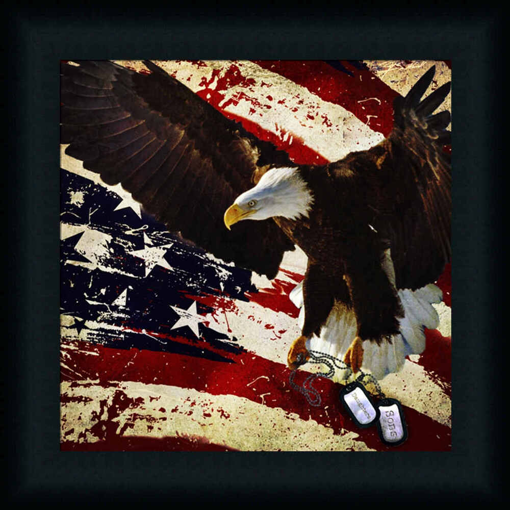 the cost of freedom patriotic bald eagle framed art print wall d cor picture ebay. Black Bedroom Furniture Sets. Home Design Ideas