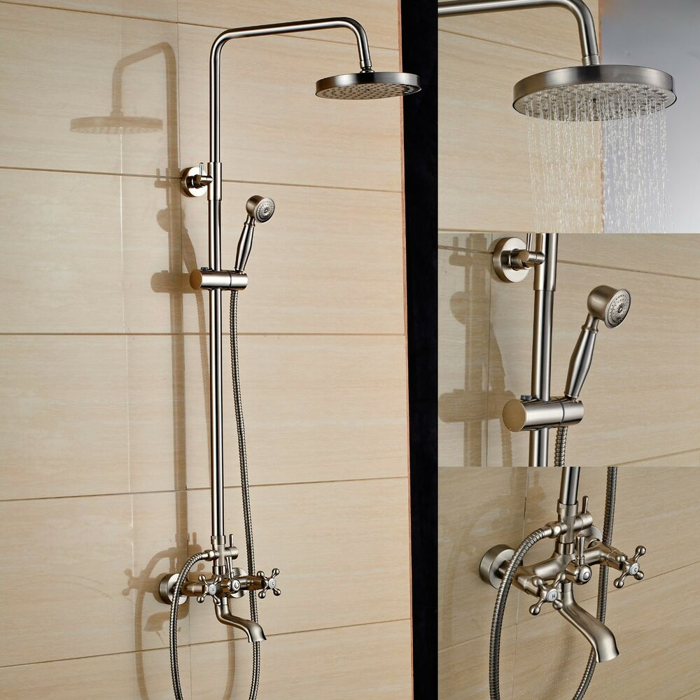 brushed nickel shower faucet set tub mixer tap 8 rain shower head hand spray ebay. Black Bedroom Furniture Sets. Home Design Ideas