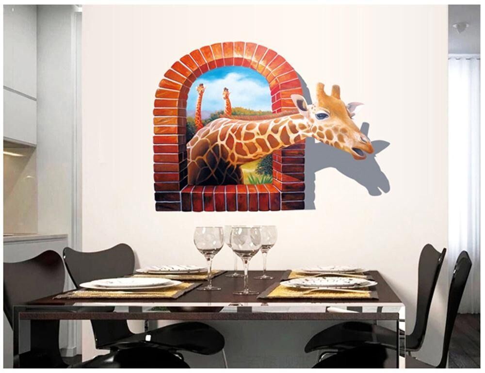 Large 3d window giraffe kids room decor wall sticker wall for Bedroom 3d wall stickers