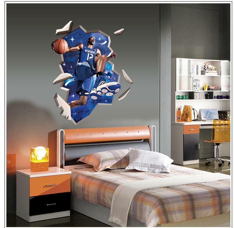 Dwight howard basketball 3d hole art wall sticker for Basketball mural wallpaper