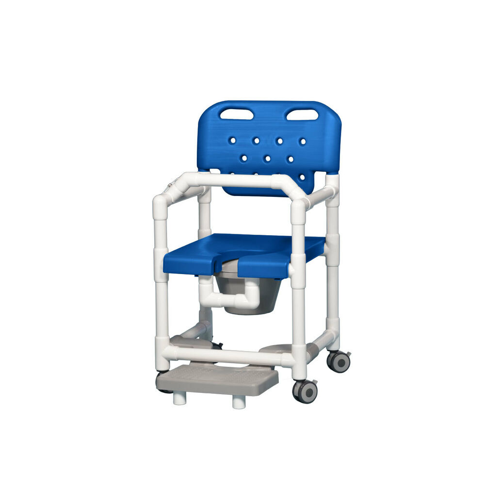 Elite Shower Chair Commode With Footrest Amp Lap Bar Blue Ebay