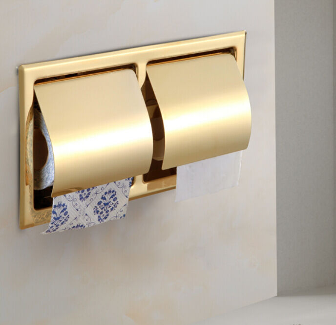 Wall embedded double toilet roll paper holder gold finish ebay - Gold toilet paper holder stand ...