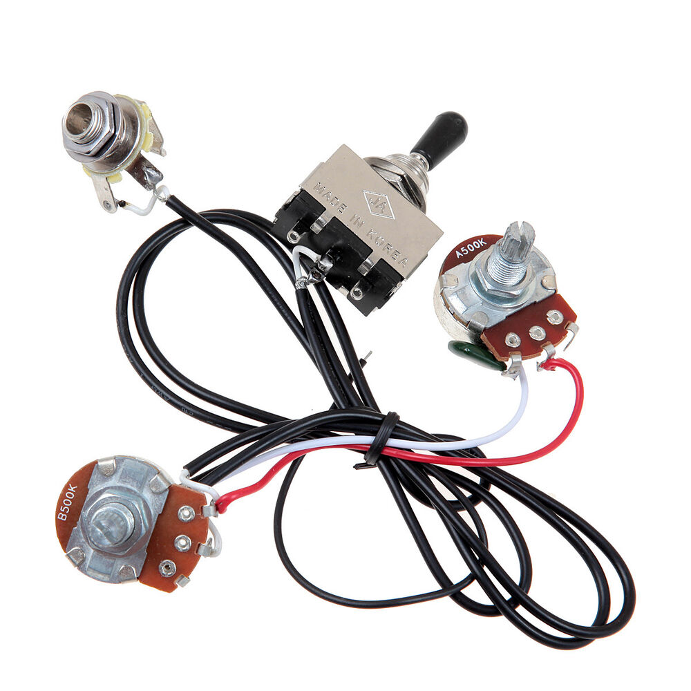 electric guitar wiring harness kit 3 way toggle switch 1 volume 1 tone 500k pots 634458579117 ebay. Black Bedroom Furniture Sets. Home Design Ideas
