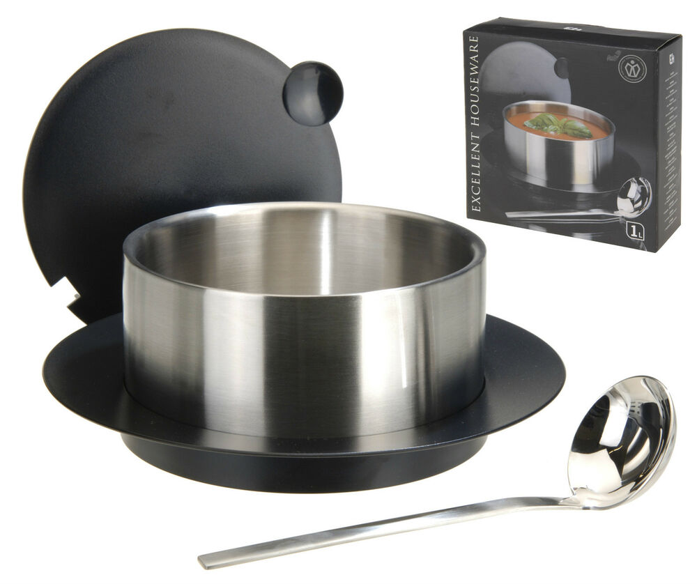1l Stainless Steel Soup Tureen Serving Dish Insulated