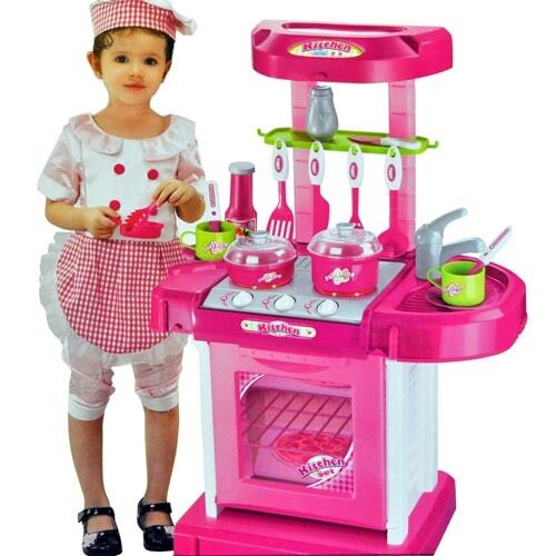Portable pink electronic kids kitchen cooking girl toy for Kitchen set portable